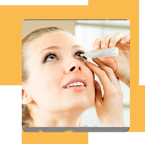 Woman with eye allergies using eye drop medication.