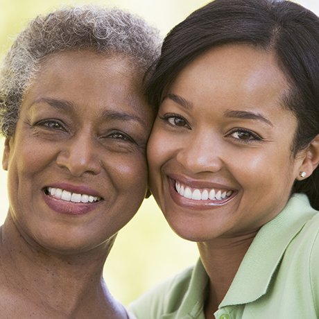 Older women on the left in need of glaucoma treatment and younger women with 20/20 eyesight on the right.